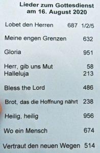 Lieder zum Gottesdienst 16 August 2020